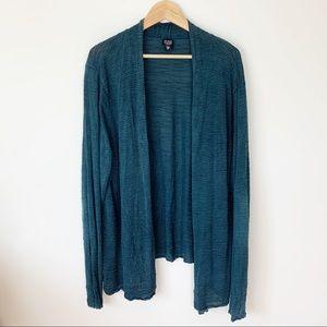 Eileen Fisher woman 2X turquoise open cardigan